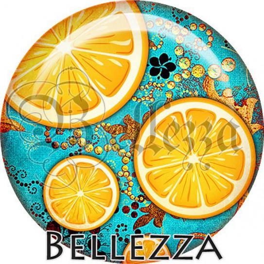 Cabochon verre, cabochon resine, orange, fruit, été, nature