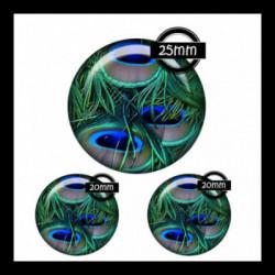 Parure 25MM-20mm VERRE, 3 Cabochons  en verre   Ref 8663plume de paon,retro,romantique,vintage,multicolore ,offrir,cadeau,création bijoux cabochons