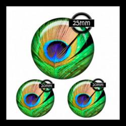 Parure 25MM-20mm VERRE, 3 Cabochons  en verre   Ref 8662plume de paon,retro,romantique,vintage,multicolore ,offrir,cadeau,création bijoux cabochons