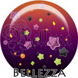 Cabochon verre, cabochon resine, halloween, étoiles, orange et violet