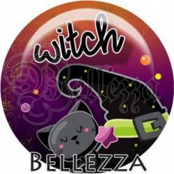 Cabochon verre, cabochon resine, halloween, chat, sorcière, orange et violet