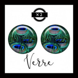 25mm VERRE, 2 Cabochons  en verre   Ref 8663Plume de paon,oiseaux,animaux,offrir,cadeau,création bijoux cabochons