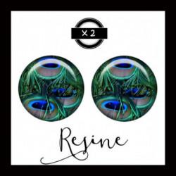 25mm RESINE, 2 Cabochons  en résine  Ref 8663Plume de paon,oiseaux,animaux,offrir,cadeau,création bijoux cabochons