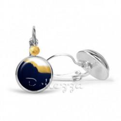 Boucles d'oreilles cabochon verre 20mm, dormeuses argenté, boho fashion abstrait