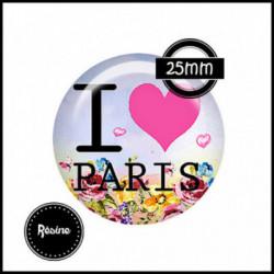 25mm RESINE, 1 Cabochons  en résine  Ref 8556Paris,rétro,retro,romantique,vintage,multicolore ,offrir,cadeau,création bijoux cabochons