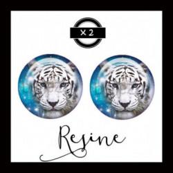 25mm RESINE, 2 Cabochons  en résine   Ref 6327 Fairy,bleu,ice,Tigre blanc, animaux,enchanté,offrir,cadeau,création bijoux cabochons