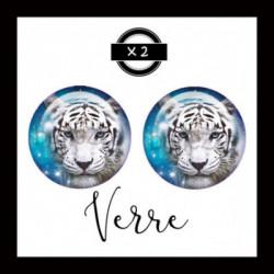 25mm VERRE, 2 Cabochons  en verre  Ref 6327 Fairy,bleu,ice,Tigre blanc, animaux,enchanté,offrir,cadeau,création bijoux cabochons