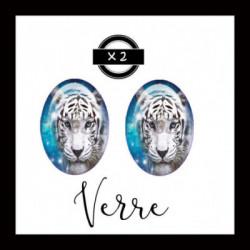 18x25mm VERRE, 2 Cabochons  en verre  Ref 6327 Fairy,bleu,ice,Tigre blanc, animaux,enchanté,offrir,cadeau,création bijoux cabochons