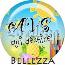 Cabochon verre, cabochon resine, avs, auxiliaire, scolaire, ananas, exotique, tropical