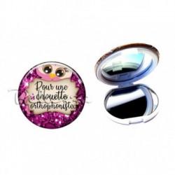 Miroir de poche compact, 58mm, coffret cadeau inclus, cadeau personnalisé, pour une chouette orthophoniste, médical