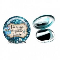 Miroir de poche compact, 58mm, coffret cadeau inclus, cadeau personnalisé, pour une chouette filleule, famille