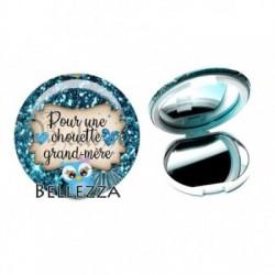 Miroir de poche compact, 58mm, coffret cadeau inclus, cadeau personnalisé, pour une chouette grand-mère, famille