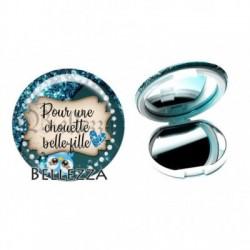 Miroir de poche compact, 58mm, coffret cadeau inclus, cadeau personnalisé, pour une chouette belle-fille, famille