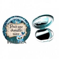 Miroir de poche compact, 58mm, coffret cadeau inclus, cadeau personnalisé, pour une chouette nièce, famille