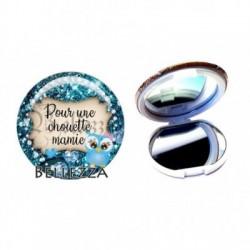 Miroir de poche compact, 58mm, coffret cadeau inclus, cadeau personnalisé, pour une chouette mamie, famille