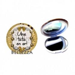 Miroir de poche compact, 58mm, coffret cadeau inclus, cadeau personnalisé, une tata en or, famille