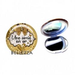 Miroir de poche compact, 58mm, coffret cadeau inclus, cadeau personnalisé, une amie en or, famille