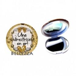 Miroir de poche compact, 58mm, coffret cadeau inclus, cadeau personnalisé, une directrice en or, famille