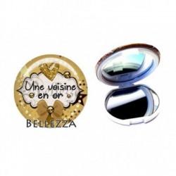 Miroir de poche compact, 58mm, coffret cadeau inclus, cadeau personnalisé, une voisine en or, amitié