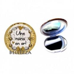 Miroir de poche compact, 58mm, coffret cadeau inclus, cadeau personnalisé, une nana en or, fashion