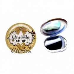 Miroir de poche compact, 58mm, coffret cadeau inclus, cadeau personnalisé, une fille en or, famille