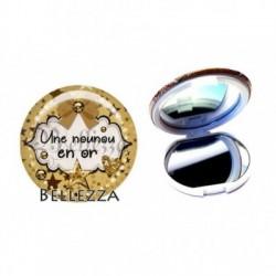 Miroir de poche compact, 58mm, coffret cadeau inclus, cadeau personnalisé, une nounou en or, enfant