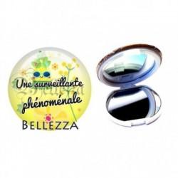 Miroir de poche compact, 58mm, coffret cadeau inclus, cadeau personnalisé, surveillante phénoménale, scolaire