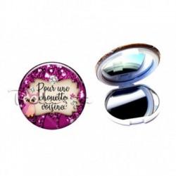 Miroir de poche compact, 58mm, coffret cadeau inclus, cadeau personnalisé, pour une chouette, voisine