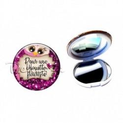 Miroir de poche compact, 58mm, coffret cadeau inclus, cadeau personnalisé, pour une chouette, fleuriste