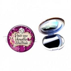Miroir de poche compact, 58mm, coffret cadeau inclus, cadeau personnalisé, pour une chouette, directrice