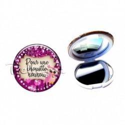 Miroir de poche compact, 58mm, coffret cadeau inclus, cadeau personnalisé, pour une chouette, nounou