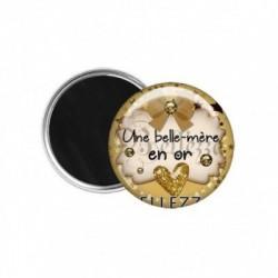 Magnet, aimant, 58mm, coffret cadeau inclus, cadeau personnalisé, une belle-mère en or