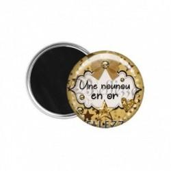 Magnet, aimant, 58mm, coffret cadeau inclus, cadeau personnalisé, une nounou en or