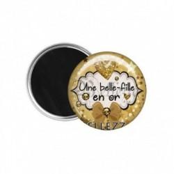 Magnet, aimant, 58mm, coffret cadeau inclus, cadeau personnalisé, une belle-fille en or