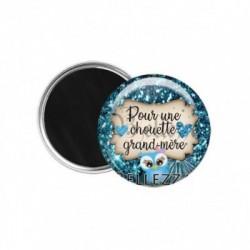 Magnet, aimant, 58mm, coffret cadeau inclus, cadeau personnalisé, pour une chouette, grand-mère, famille