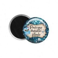 Magnet, aimant, 58mm, coffret cadeau inclus, cadeau personnalisé, pour une chouette filleule, famille