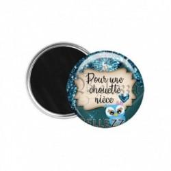Magnet, aimant, 58mm, coffret cadeau inclus, cadeau personnalisé, pour une chouette nièce, famille