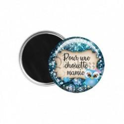 Magnet, aimant, 58mm, coffret cadeau inclus, cadeau personnalisé, pour une chouette mamie, famille