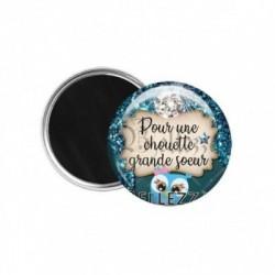 Magnet, aimant, 58mm, coffret cadeau inclus, cadeau personnalisé, pour une chouette, grande sœur, famille