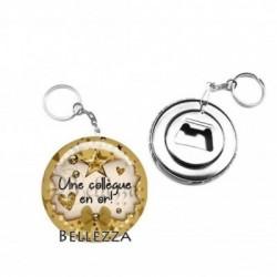 Décapsuleur, porte clés, 58mm, coffret cadeau inclus, cadeau personnalisé, une collègue en or