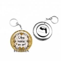 Décapsuleur, porte clés, 58mm, coffret cadeau inclus, cadeau personnalisé, une nana en or