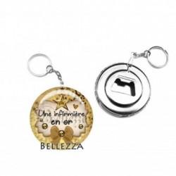 Décapsuleur, porte clés, 58mm, coffret cadeau inclus, cadeau personnalisé, une infirmière en or