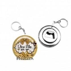 Décapsuleur, porte clés, 58mm, coffret cadeau inclus, cadeau personnalisé, une fille en or
