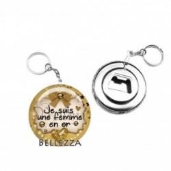 Décapsuleur, porte clés, 58mm, coffret cadeau inclus, cadeau personnalisé, je suis une femme en or