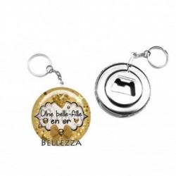 Décapsuleur, porte clés, 58mm, coffret cadeau inclus, cadeau personnalisé, une belle fille en or