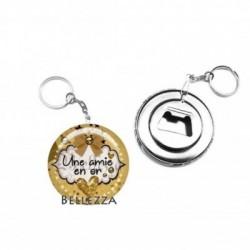 Décapsuleur, porte clés, 58mm, coffret cadeau inclus, cadeau personnalisé, une amie en or