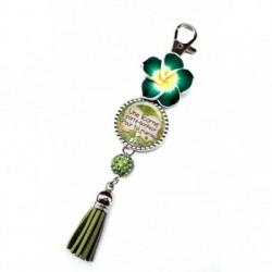 Porte clés, bijoux de sacs, coffret cadeau inclus, cadeau personnalisé, exotique, fleur, pompon, une licorne pour toi mamie, saint patrick