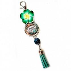 Porte clés, bijoux de sacs, coffret cadeau inclus, cadeau personnalisé, exotique, fleur, pompon, collègue, métier