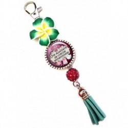 Porte clés, bijoux de sacs, coffret cadeau inclus, cadeau personnalisé, exotique, fleur, pompon, auxiliaire de crêche, enfant