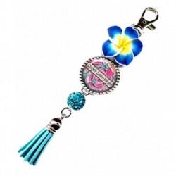 Porte clés, bijoux de sacs, coffret cadeau inclus, cadeau personnalisé, exotique, fleur, pompon, baby-sitter, enfant
